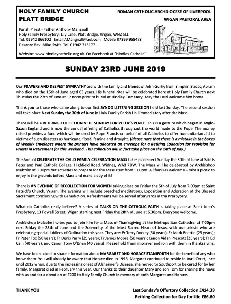 June 23rd 2019 | Hindley Catholic Churches